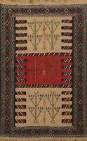 Traditional Sumak Kilim Geometric Oriental Area Rug Wool Hand-Woven Tribal 4'x6'