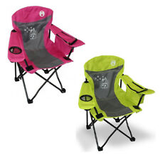 2 x COLEMAN FYREFLY JUNIOR KIDS CHAIR Camping Picnic Arm Chair (GREEN+PINK)