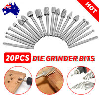 20PC 3mm Carbide Burr Die Grinder Bits For Dremel Rotary Tool Drill Set Shank
