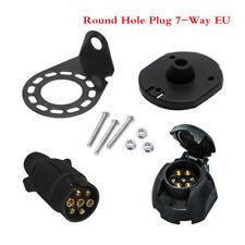 Round Hole Plug 7-Way EU Boat Truck Trailer Connector Plug+ Socket+ Bracket Set
