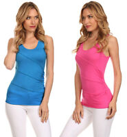 Women's Causal Basic Summer Tank Sleeveless Top w/ Ruched Side & Seam Crossing