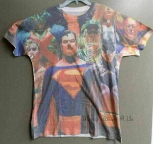 Neuf DC Comics Superman Batman Superhéros Sublimé Graphique T-Shirt Haut M-L