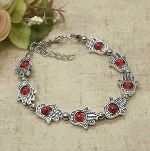 Ladies Jewelry Tibetan Silver Bracelet Ladies Red  Bangle