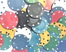 100 x LOOSE RANDOM COLOURED FULL WIDTH POKER ROULETTE CASINO CHIPS