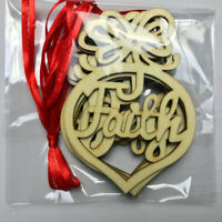 6PCS Personalised Christmas Tree Wooden Letter Baubles Gift Tag Decorations