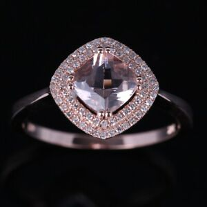 925 Sterling Sliver CUSHION CUT MORGANITE ENGAGEMENT WEDDING DIAMOND UNIQUE RING