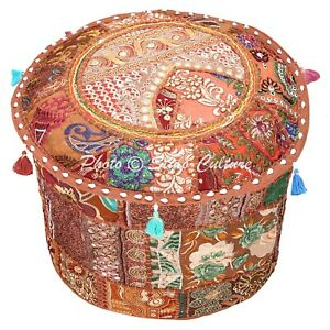 Indian Round Pouffe Cover Brown Patchwork Cotton 16 Inch Embroidered Floral