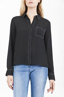 Marks & Spencer Stitching Detail Winter Black Shirt Blouse Top Size 6-24