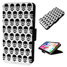 Skulls with Horns Pattern - Flip Phone Case Wallet Cover Fits Iphone & Samsung