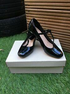 Clarks Orabella Fern Pantent Leather T-Bar Shoes Size 5E