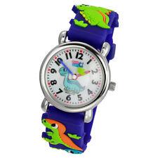 Tee-Wee Kinder Quarz Uhr Dinosaurier 27mm Kautschuk Armband blau UW331B