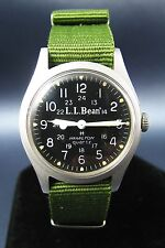Vintage Hamilton LL Bean Stainless Steel Military Style Mens Watch Quartz 1980s