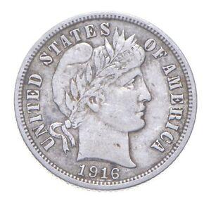 10c - ORIGINAL AU - 1916 - Barber Silver Dime - Almost Uncirculated *520