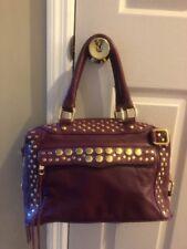 Rebecca Minkoff Burgundy  Purple  Doctor Satchel Bag Golden Studded