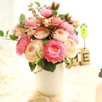 9 Heads Artificial Fake Flowers Bouquets Plants Silk Rose Flower Wedding Decor
