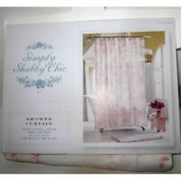 Simply Shabby Chic Fabric Shower Curtain 72 x 72  Pink Floral Toile Flowers