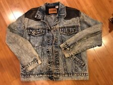 BOSS Mens Jean Jacket Size L Large Blue Washed Denim Casual Hipster Leather