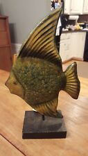 """Cape Craftsmen - Metal Green Fish Sculpture On Stand (13"""") New With Tags"""