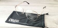 ASOS Mens Greeky Clear Glasses Metal Frame Cat 0 UV Protection Soft Case R511-24
