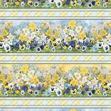 WALKING ON SUNSHINE SPRING FLOWERS PANSIES DAFFODILS STRIPE FABRIC