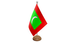 Maldives Small Table Flag with Wooden Stand