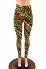 MEDIUM Tribal Rasta Red/Gold/Green High Waist Spandex Leggings Ready To Ship