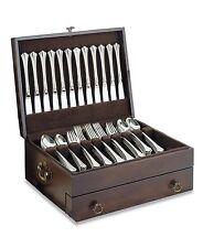 Silverware Chest Flatware Set Case Utensils Kitchen Wood Silver Storage Box NEW!
