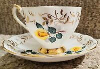 QUEEN ANNE FINE BONE CHINA GOLD FILIGREE TRIM YELLOW ROSES MINT TEACUP & SAUCER