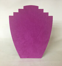 Set of 5 Jewellery Display Card Busts [B] Fuchsia Pink Suedette *Made in the UK*