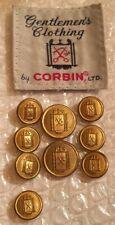 Corbin Scissors Thread Logo Blazer Button Set 8 & 1 For 2 Button Coat Brass