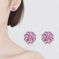 Women's Sweet 925 Sterling Silver Pink Zircon Heart Clover Ear Stud Earrings