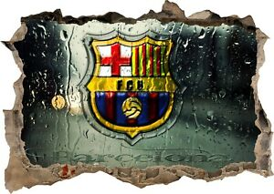 FC Barcelona Spain Football 3d Smashed View Wall Sticker Poster Bedroom Z452