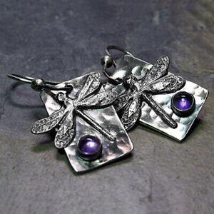 Vintage 925 Silver Women Dragonfly Amethyst Dangle Drop Earrings Wedding Jewelry