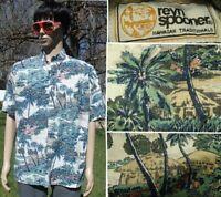 vtg reverse print REYN SPOONER hawaiian shirt no iron palm tree tiki hut men L
