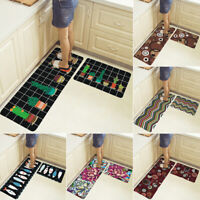 2PCS Kitchen Floor Mat Non Slip Runner Rug Set Soft Door Mat Home Decor Washable