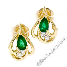 14K Yellow Gold .38ctw Pear Cut Emerald & Round Diamond Open Flame Stud Earrings