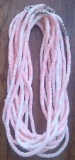 BEACH PARTY LOT of 12 PeachWHITE Puka Shell Beads Beach Surfer Necklace 18 inch