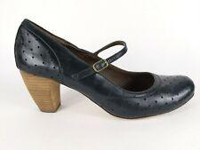 Monsoon Black Leather Mid Heel Slip On Shoes Uk 6