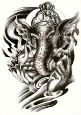 Elephant Buddha Temporary Tattoo  Black Large for Men and Women