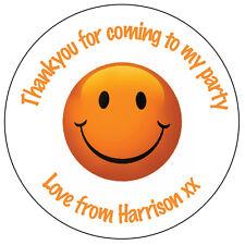 Personalizado Pegatinas sonriente cara naranja fiesta de cumpleaños feliz gracias - 131