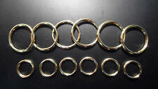 "12 TOTAL ~ 6 each (1.1"" OD &  9/16"" ID) Split Key Rings  - POLISHED SOLID  BRASS"