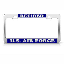 U.S. AIR FORCE RETIRED Heavy Duty Chrome License Plate Frame Tag BLUE & SILVER