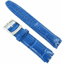 19mm Genuine Leather Alligator Grain Padded Royal Blue Watch Band Fits Swatch
