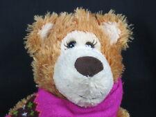 Big Mary Myers Winter Teddy Bear Pink Brown Scarf Mittens Plush Stuffed Animal