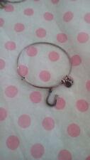 Alex & Ani Lucky Horseshoe Horse Silver Charm Bangle Bracelet Rare HTF