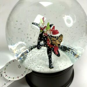 Christmas Snow Water Globe Elves Gnomes riding on Dog