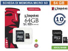 SCHEDA DI MEMORIA KINGSTON MEMORY CARD MICRO SD UHS-I CLASSE 10 80MB/s 64GB