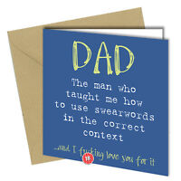 #574 FATHERS DAY / BIRTHDAY Greeting Card DAD Rude Joke Humour Funny 6x6 Inch