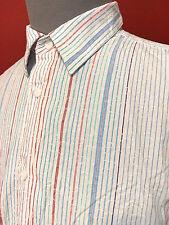 Cubavera Mens White Striped 100% Cotton Short Sleeve Button Down Dress Shirt XL