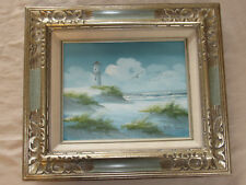 Original Oil Painting by Betty Moore Seascape Lighthouse Seagulls Framed